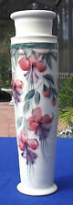 "Hand Made &  Hand Painted Fuchsia Floral 14"" Porcelain Vase"
