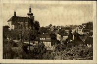 Mnichovo Hradiště Tschechien Postkarte 1954 gelaufen Teilansicht Kirche