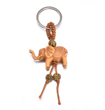 New Fashion Women Men Wooden Elephant Key Chain Jewelry Cute Key Ring
