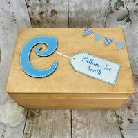Personalised New Baby Boy Wooden Keepsake Box Christening Wood Gift Blue Rustic