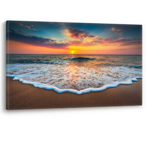 Sunrise on the Beach Ocean Waves Sand Large Canvas Wall Art Picture Print A0 A2