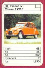"VINTAGE 1970's/'80's ACE TRUMP GAME ""France IV Series"" CITROEN 2 CV 6 CARD #H1"
