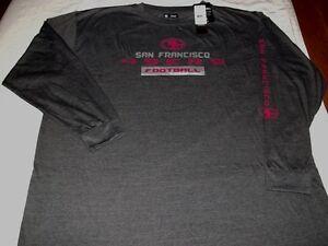 San Francisco 49ers T-Shirt Long Sleeve NFL Majestic Two Hit Granite Theme