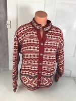 LL BEAN Fair Isle Wool Cardigan Sweater Women's Small