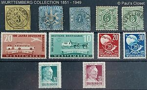 WURTTEMBERG 1851 - 1949 5 USED & 6 MNH ESTATE COLL. SEE PHOTOS & INV BELOW