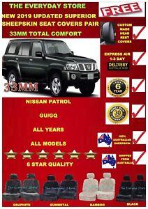 Nissan Patrol GU/GQ 88-19 Superior Sheepskin Seat Covers Pair Airbag Safe 33MM