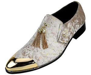 Amali Mens Designer Velvet Smoking Loafers Fashion Slip On Dress Shoes w Tassel