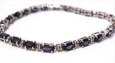 5.25 TCW Natural Blue Oval Sapphire & Diamond Tennis Bracelet G SI-1 14k WGold