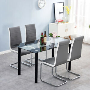 2/4/6x Cantilever Grey Faux Leather Dining Chairs Dining Room Kitchen Modern New