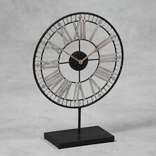 Antiqued Negro y Plata Metal Esqueleto Reloj en Stand 55cm De Alto