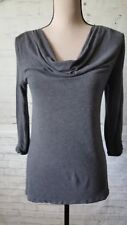 DAISY FUENTES 3/4 Sleeve Top Gray Size Small Casual Cute Top