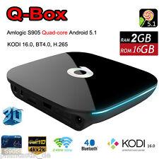 Q-BOX 4K Smart TV Box S905 64-bit Quad-Core Wifi BT Android 5.1 KODI 16.1 2G+16G