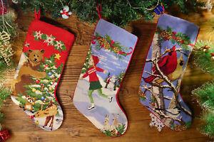 Hand Crafted Pretty Needlepoint Christmas Stocking Teddy Bear Kid Birds Wreath