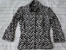 Diane Von Furstenberg Cotton Zip Front Jacket in Black & White Print Sz 2