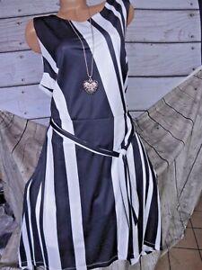 Aniston Robe Femmes sans Manches Noir Blanc Rayé (900) Grandes Tailles Neuf