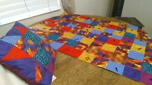 """Unique New Handmade Baby Quilt 46X30"""" With 14"""" Sq Pillow, Moon & Stars Pattern.."""