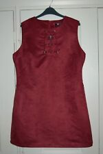 New 16 Very Maroon Faux Suede Shift Dress Tunic Pockets Lace Up neckline