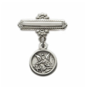 STERLING SILVER BABY GUARDIAN ANGEL BAR PIN