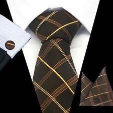 Mens 100% Silk Neckties Brown Tie Hanky Cufflinks Sets Free S&H Start CN-376