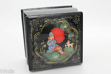 Vintage LACQUER WARE BOX  PALEKH FEDOSKINO USSR Sovjet Union Handpainted Signed
