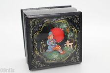 Vintage Laque WARE BOX Palekh Fedoskino URSS SOVJET UNION peinte à la main signé