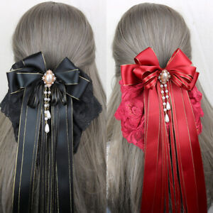 Women Girls Hair Clip Long Ribbon Lace Bow Knot Hairpin Hair Accessories Retro