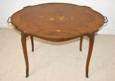 Antique French Style Mahogany Serving Tray Table Floral Center Inlay Circa 1940s