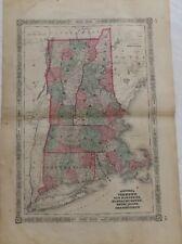 "1864 ""Vermont New Hampshire Massachusetts Connecticut Rhode Island "" Antique Map"
