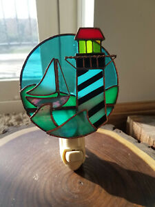 Stained Glass Nightlight Lighthouse Boat Plug In Nautical