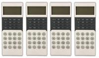 4x Design Taschenrechner mit Uhr | Tischrechner Bürorechner Rechenmaschine
