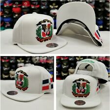 Exclusive DOMINICAN REPUBLIC FLAG SNAPBACK HAT BY MITCHELL & NESS WHITE DR