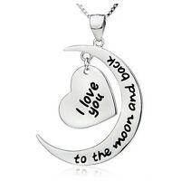 GB Tienda Plata ' i Love You To The Moon And Back ' Grabado Collar Corazón