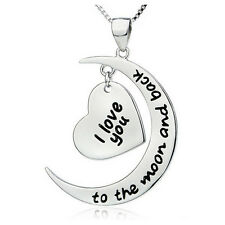 925 Silver Plt 'i Love You to The Moon and Back' Engraved Heart Necklace a
