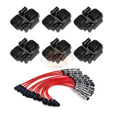 6pcs Ignition Spark Coils & Plug Wire Sets For Mercedes-Benz C CL CLK ML Class