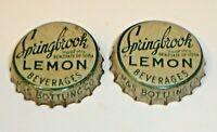 Vintage Lot (2) Springbrook Lemon Cork Lined Soda Bottle Caps Clinton, Iowa Rare