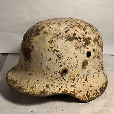 Original Luftwaffe Blue & White Washed Winter Camo German M40 Camo Helmet Relic