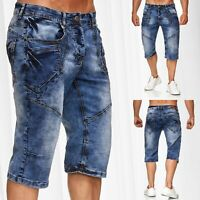 Herren Bermuda Jeans Capri Shorts Baumwolle Kurze Hose Waschung Sommer Vintage