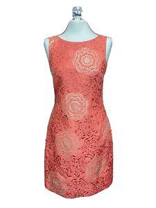 Monsoon Coral Embroidered Gold Sequin Shift Dress Size 8 Sleeveless V Back NWOT