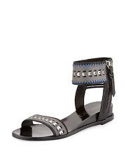Cynthia Vincent $195 Fayette Leather Gladiator Sandal, Black, sz 8