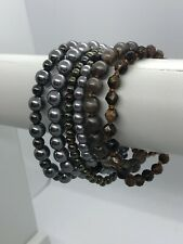 Metallic Silver Tones Beaded Bracelet Set X6 Boho Festival Lagenlook Stacked