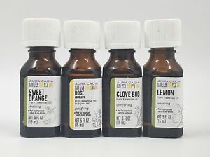 Aura Cacia Pure Essential Oil 0.5 oz Mixed 4 Lemon Clove Bud Rose Sweet Orange