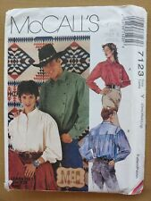 New ListingMcCall's Sewing Pattern7123 Men & Women Vintage Old West Western Shirt Sm-Large