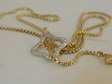 DAVID YURMAN 18K GOLD LARIAT DIAMOND QUATREFOIL BOX CHAIN NECKLACE 24""