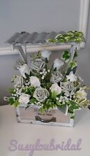 Grey White Artificial Flowers Rustic Wood Planter With Foliage-30 CM High