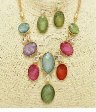 Gold and Multi Colored Etched Opal Crystal Necklace Set
