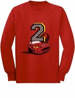 2nd Birthday 2 Year Old Boy Race Car Party Toddler/Kids Long sleeve T-Shirt Two