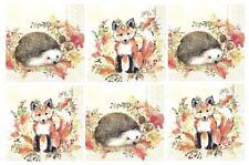 6 Different Cocktail Paper Napkins (25cm x 25cm) for Decoupage, Fox, Hedgehog