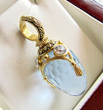 SALE !  RUSSIAN ENAMEL EGG PENDANT MADE OF STERLING SILVER 925 BLUE TOPAZ