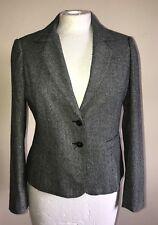 E-Vie Grey Mix Shimmer Single Breast Button Blazer Capri Trousers Suit Sz 12-14