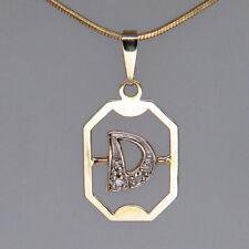 Anhänger Buchstabe D mit ca. 0,02ct Diamant in 333/8K Gelbgold
